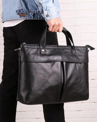 Vintage Fashion Leather Mens 13inch Briefcase Laptop Shoulder Bag Business Bag Handbag For Men