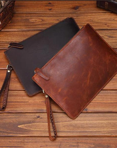 Vintage Brown Leather Men's Wristlet Bag Clutch Bag Mini File Bag For Men
