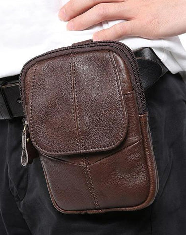 Vintage Brown Leather Men's Waist Belt Pouch Cell Phone Holster Mini Side Bag For Men