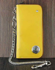 Cool Leather Men's Long Wallet with Chain Biker Chain Wallet Biker Wallet For Men