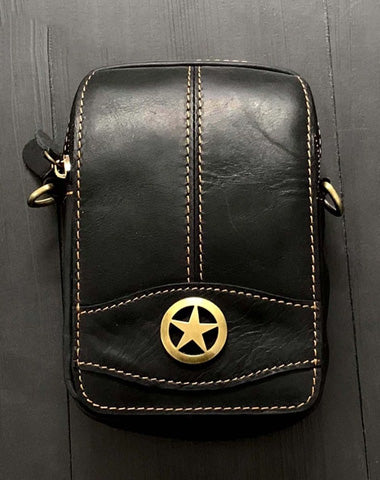 Cool Black Leather Men's Biker Belt Pouch Waist Belt Bag Small Biker Side Bag For Men