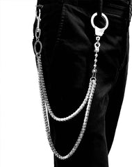 BADASS SILVER STAINLESS STEEL MENS Double CHAIN PANTS CHAIN WALLET CHAIN BIKER WALLET CHAIN FOR MEN