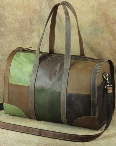 Vintage Green Leather Men's Weekender Bag Travel Bag Overnight Bag For Men