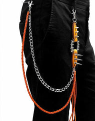 Badass Double Leather Metal Wallet CHain Pants Chain Long Biker Wallet Chain For Men