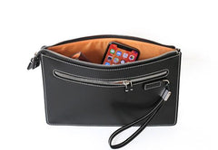 Cool Handmade Leather Mens Wristlet Bag Clutch Zipper Clutch for Men