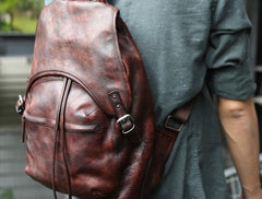 Coffee Leather Mens Backpack Travel Backpack Laptop Backpacks for men