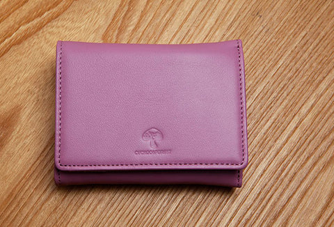 Genuine Leather Cute Slim billfold Trifold Wallet Card Holder Wallet Purse For Women Girl