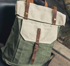 Cool Canvas Gray Travel Bag Mens Backpack Canvas Canvas School Bag for Men
