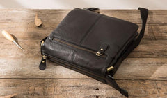 Cool Leather Black Mens Messenger Bags Vintage Shoulder Bags  for Men