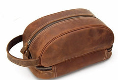 Cool Leather Mens Zipper Wristlet Bag Vintage Clutch Zipper Bag for Men