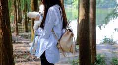 Handmade Leather Beige Womens Backpacks Travel Backpack School Backpack for Women