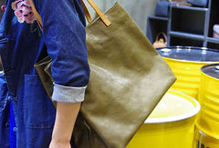 Handmade Genuine Leather Handbag Large Tote Bag Shopper Bag Shoulder Bag Purse For Women