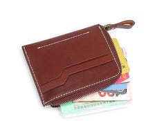 Leather Mens Front Pocket Wallets Small Slim Wallet billfold Card Wallet Change Wallet for Men