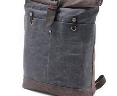 Cool Waxed Canvas Leather Mens Hiking Backpacks Canvas LaptopBackpack Canvas School Backpack for Men