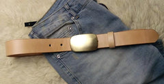 Beige Handmade Leather Mens Belt Leather Belt for Men