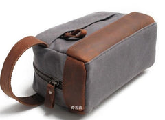 Cool Waxed Canvas Leather Mens Wristlet Bag Vintage Clutch Zipper Bag for Men