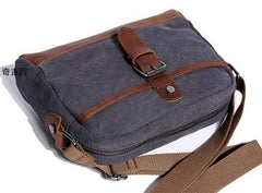 Mens Waxed Canvas Leather Small Courier Bags Canvas Messenger Side Bag for Men