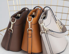 Leather Womens Stylish Mini Bucket Handbag Crossbody Purse Barrel Shoulder Bag for Women
