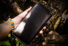 Handmade Leather Acalanatha Mens Tooled Chain Biker Wallet Cool Leather Wallet Long Clutch Wallets for Men
