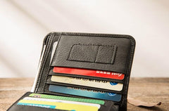 Black Cool Leather Mens Small Wallet Trifold Vintage Short Wallet for Men