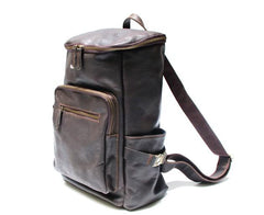Black Coffee Mens Leather Backpacks Travel Backpacks Laptop Backpack for men