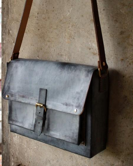 Handmade Vintage Leather Mens Cool Messenger Bags Gray Shoulder Bag for Men