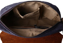 Mens Waxed Canvas Leather Small Side Bag Canvas Messenger Courier Bags for Men