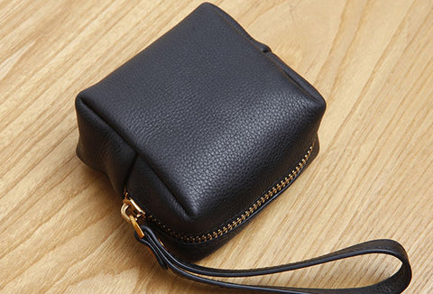 Genuine Leather Cute billfold Cube Wallet Clutch Change Zipper Wallet Purse For Women Girl