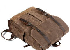 Waxed Canvas Leather Mens Backpacks Canvas Travel Backpack Canvas School Backpack for Men