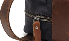 Cool Canvas Leather Mens Zipper Wristlet Bags Vintage Clutch Zipper Bags for Men