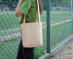 Handmade Leather Beige Small Womens Tote Purse Tote Shoulder Bags for Women