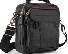 Cool Leather Mens Small Side Bag Messenger Bags Shoulder Bags for Men