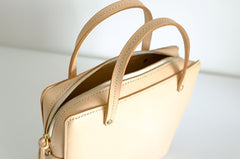Handmade Leather Beige Womens Square Box Handbag Shoulder Bag Purse for Women