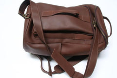 Mens Leather Barrel Backpack Cool Travel Bag Weekender Bag for men