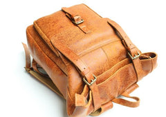 Cool Leather Mens Backpack Travel Backpacks Vintage Laptop Backpack for men