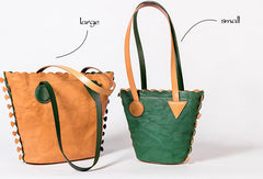Handmade Genuine Leather Shopper Bag Bucket Bag Shoulder Bag Purse For Women