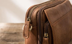 Cool Small Mens Leather Camel Bag Messenger Bags Shoulder Bags  for Men
