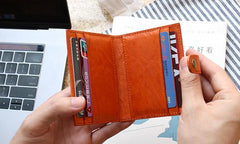 Leather Mens Front Pocket Wallet Card Wallet Small Slim Wallet Change Wallet for Men