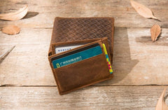 Cool Leather Mens Briaded Small Wallet Bifold Vintage Slim Short Wallet for Men