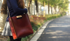Handmade Leather Red Womens Tote Purse Handbag Tote Shopper Bag for Women