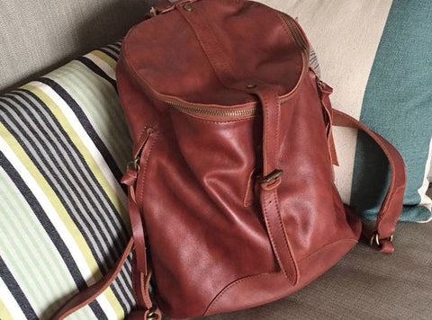 Vintage Handmade LEATHER WOMEN Barrel Backpack School Bucket Backpack FOR WOMEN