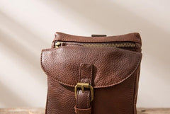 Cool Leather Coffee Belt Pouches Mens Waist Bag Shoulder Bag for Men
