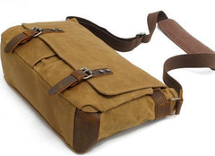 Mens Waxed Canvas Side Bag Canvas Messenger Courier Bag Shoulder Bag for Men