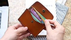 Leather Mens Card Wallet Front Pocket Wallet Small Slim Wallets Change Wallets for Men