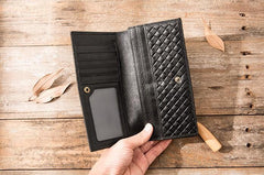 Cool Black Braided Leather Mens Long Wallet Long Wallet for Men