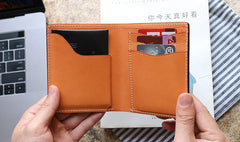 Cool Leather Mens Small Wallets Front Pocket Wallet Slim Wallet for Men