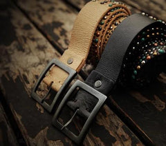 Handmade Genuine Leather Mens Belt Custom Cool Leather Men Black Belts for Men