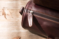Cool Leather Mens Barrel Shoulder Bag Coffee Messenger Bags for Men