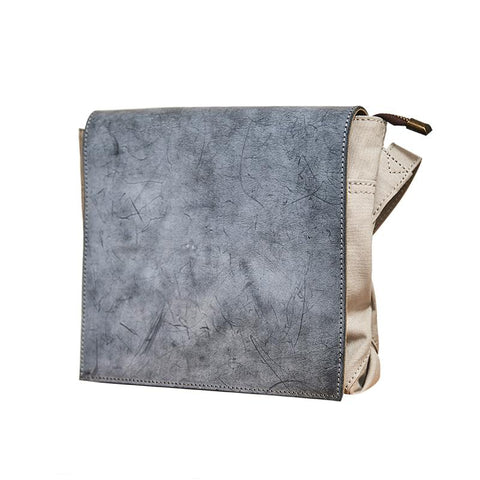Canvas Leather Mens Small Navy Side Bag Canvas Square Messenger Bags Canvas Travel Courier Bags for Men