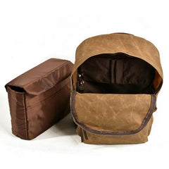 Waxed Canvas Leather Mens Camera Backpack Canvas Travel Backpack Canvas Camera Backpack for Men